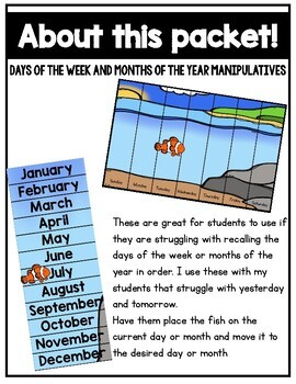Calendar Comprehension Activities for the Year