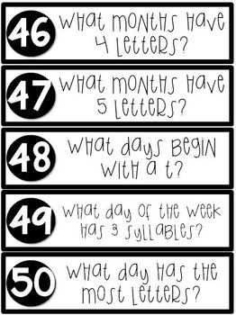 Calendar Conversation Cards {100 Question Cards}