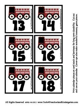 Calendar Cover Ups - Transportation Theme - Trucks Memory Game - Preschool