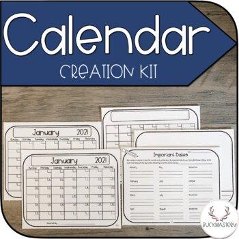 Calendar Creation Kit By Buckmastery Teachers Pay Teachers