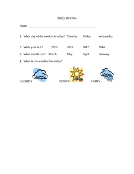 Calendar Daily Review Sheets