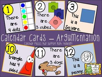 Calendar Date Cards - Argumentation