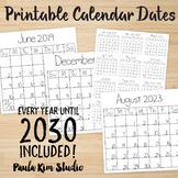 Printable Yearly Calendar 2019-2030