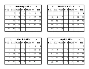 Calendar Dates Jan 2023 to Dec 2027