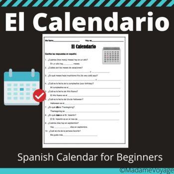 Calendar (Day/Month) practice homework Spanish