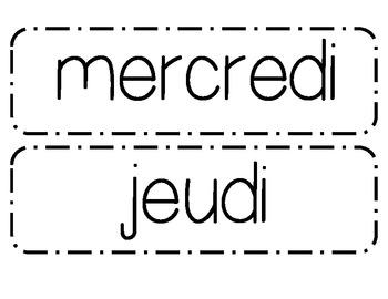 Calendar Days Bulletin Board Cards - French