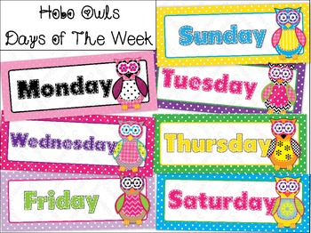 Calendar Days Of The Week Owl Polka Dot Hobo Stitched Colorful Classroom Set