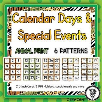 Calendar Days & Special Event Cards