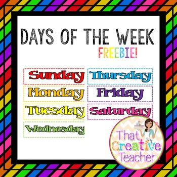 Calendar Days of the Week