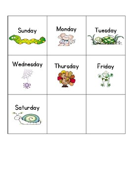 Calendar Days of the Week