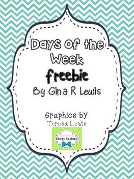 Calendar Days of the Week Freebie