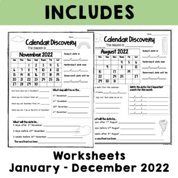 Calendar Worksheets - January to December by Alison Hislop | TpT