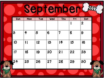 Calendar - Dog Theme - School Year Calendar