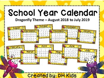 Calendar - Dragonfly Theme - School Year Calendar 2018-19