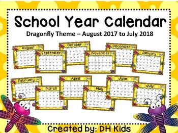 Calendar - Dragonfly Theme - School Year Calendar