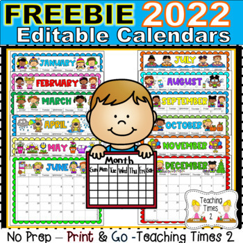 Editable 2020 Calendar 2019 2020 Editable Calendars   Lifetime Updates PDF & POWER POINT
