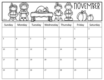 Calendar English version 2019-2020 (Editable)
