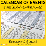 Calendar / Planner - Events in the English Speaking World