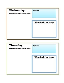 Calendar Exercise- Days of the week half sheet activity