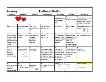 Calendar February 2018 Grade 6-7 Problem of the Day Pre Algebra