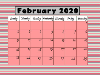 February 2020 Calendar Pink Calendar February 2020 (Interactive) by LOLLIPOP LEARNING | TpT
