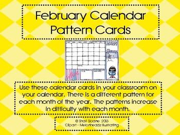 Calendar February Pattern Cards - ABBB Pattern