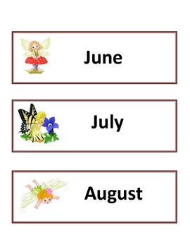 Calendar Flashcard Set - Fairies