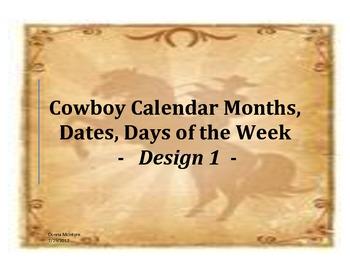 Calendar Flashcards Set -Months, Dates, Days - Cowboy Design 1