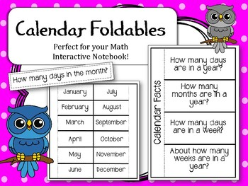 Calendar Foldables. Math Interactive Notebook. Days in a month. Questions