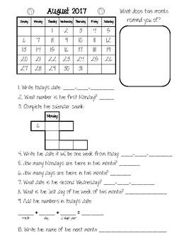 Calendar Folder (1st-2nd Grade) 2017-2018
