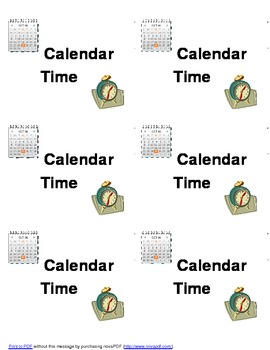 Calendar Folder/Binder: Labels