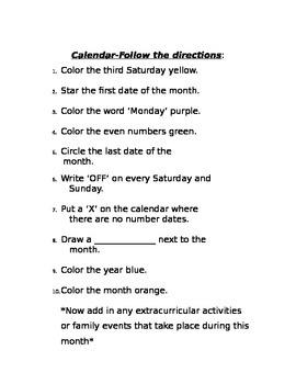 Calendar-Follow the Directions