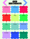 Calendar For Students Birthdays