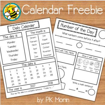 Calendar Freebie Activity