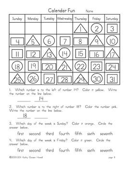 Calendar Fun -  Reinforcing Math Concepts and Calendar Features