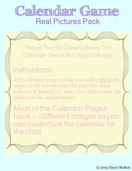Calendar Game for Hippotherapy, Classroom, and Homeschool (Real Pictures Pack)