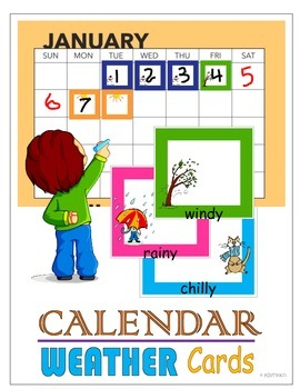 Calendar & Graphing Weather Cards w/ Student Graph Templat