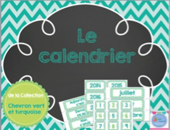 Calendar - Green and Turquoise/ Calendrier de classe vert et turquoise