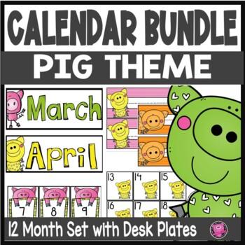 Pig Theme Calendar Growing Bundle