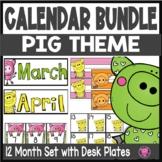 Pigs Yearlong MEGA Classroom Calendar Desk Plates and Calendar Numbers