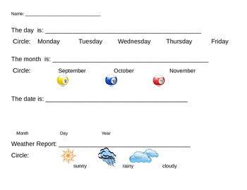 Calendar Handwriting Activity