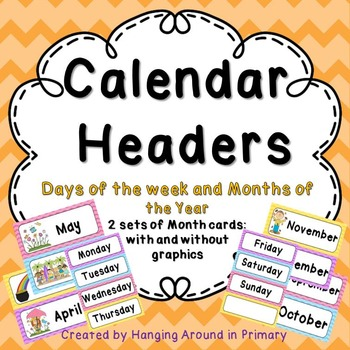 Calendar Header Cards in Bright Chevron