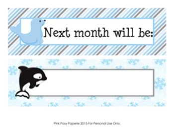 Calendar Headers Arctic Animals Themed