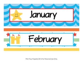 Calendar Headers Beach Themed