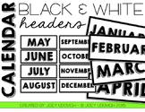 Calendar Headers - Black and White Theme