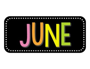 Calendar Headers | Bright Colors on Black
