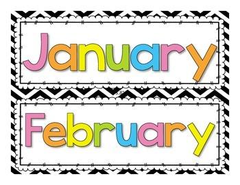 Calendar Headers | Bright Colors on Chevron + Black on Gray Chevron