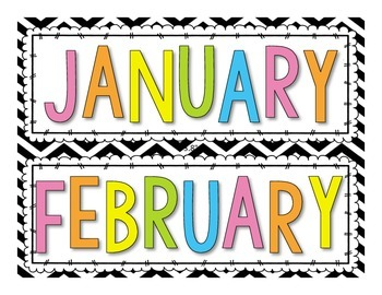 Calendar Headers | Bright Colors on Chevron + Black on Gra