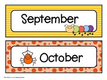"Calendar Headers (""Cute as a Bug"" Theme)"