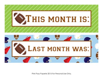 Calendar Headers Football Themed